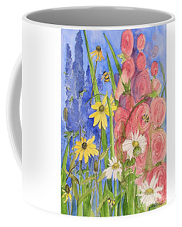 Cottage Garden Daisies And Blue Skies Coffee Mug
