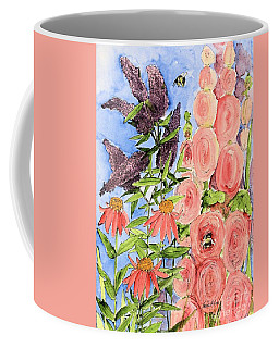 Cottage Garden Hollyhock Bees Blue Skie Coffee Mug by Laurie Rohner