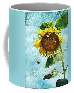 Cottage Garden Sunflower - Everlastings Seeds N Flowers Coffee Mug by Audrey Jeanne Roberts