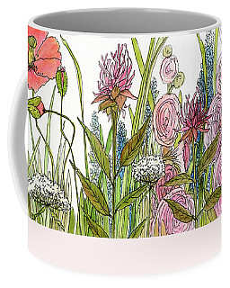 Cottage Hollyhock Garden Coffee Mug by Laurie Rohner