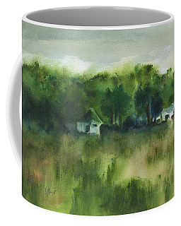 Coffee Mug featuring the painting Cottages By The Field by Frank Bright