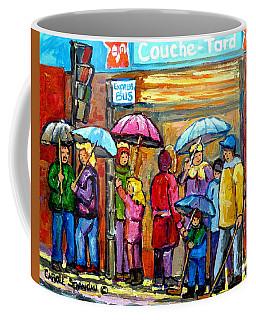 Couche Tard Verdun Depanneur Rainy Day Cityscene Montreal Quebec Streetscene Painting C Spandau Art  Coffee Mug