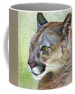 Coffee Mug featuring the painting Cougar by Bonnie Rinier