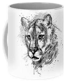 Coffee Mug featuring the mixed media Cougar Head Black And White by Marian Voicu