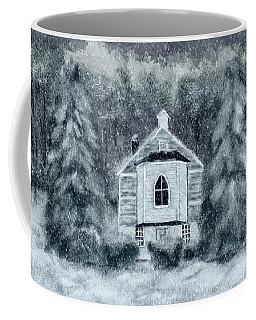 Coffee Mug featuring the digital art Country Church On A Snowy Night by Lois Bryan