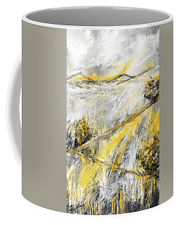 Country Glow - Yellow And Gray Modern Artwork Paintings Coffee Mug