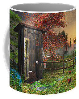 Country Outhouse Coffee Mug by Mary Almond