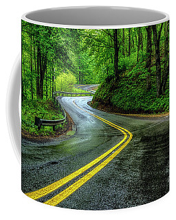 Country Road In Spring Rain Coffee Mug