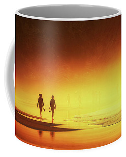 Couple Of Women Walking On Beach Coffee Mug