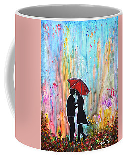 Couple On A Rainy Date Romantic Painting For Valentine Coffee Mug