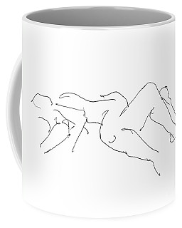 Coffee Mug featuring the drawing Couples Erotic Art 4 by Gordon Punt