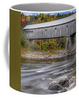 Covered Bridge In Vermont With Fall Foliage Coffee Mug