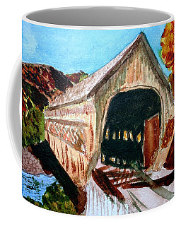 Coffee Mug featuring the painting Covered Bridge Woodstock Vt by Donna Walsh