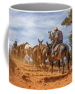 Cowboy And Mule Train On The South Kaibab Trail In The Grand Canyon Coffee Mug