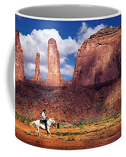 Coffee Mug featuring the photograph Cowboy And Three Sisters by William Lee