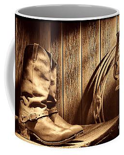 Cowboy Boots In Old Barn Coffee Mug