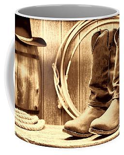 Cowboy Boots On The Deck Coffee Mug