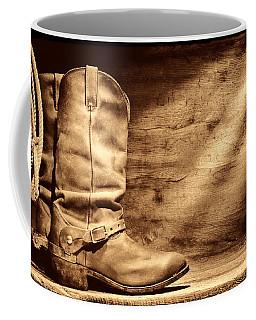 Cowboy Boots On Wood Floor Coffee Mug