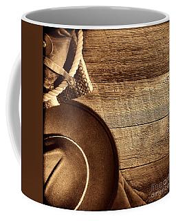 Cowboy Hat And Gear On Wood Coffee Mug
