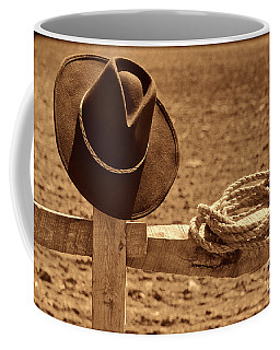 Cowboy Hat And Rope On A Fence Coffee Mug