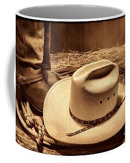 Cowboy Hat On Barn Floor Coffee Mug