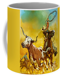 Cowboy Lassoing Cattle  Coffee Mug