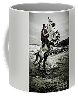 Cowboy On The Rear Up Horse In The River Coffee Mug