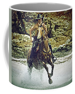 Cowboy Riding In The Sea Coffee Mug