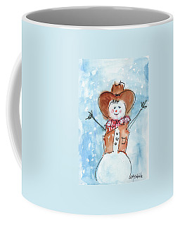 Cowboy Snowman Watercolor Painting By Kmcelwaine Coffee Mug