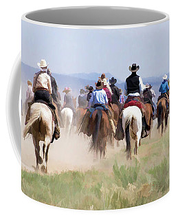 Coffee Mug featuring the digital art Cowboys And Cowgirls Riding Horses At The Sombrero Horse Drive by Nadja Rider
