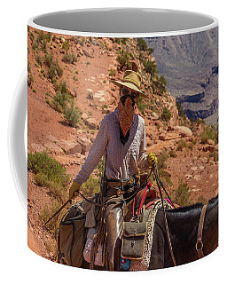 Cowgirl Leading A Mule Train On The South Kaibab Trail Coffee Mug