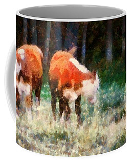 Cows In The Meadow  - Swish Swish Swish Coffee Mug by Janine Riley