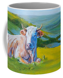 Cows Lying Down In Devon Hills Coffee Mug