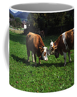 Cows Nuzzling Coffee Mug by Sally Weigand