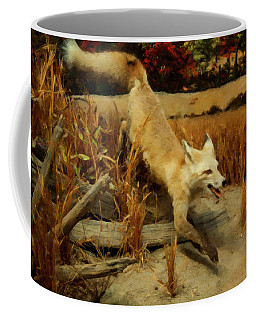 Coffee Mug featuring the digital art Coyote  by Chris Flees