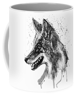 Coffee Mug featuring the mixed media Coyote Head Black And White by Marian Voicu
