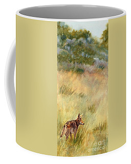 Coffee Mug featuring the painting Coyote Santa Rosa Plateau by Bonnie Rinier
