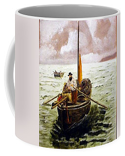 Coffee Mug featuring the painting Crab Fisherman by Richard Le Page