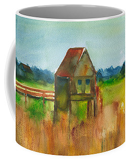 Coffee Mug featuring the painting Crab Pier Pawleys Island by Frank Bright