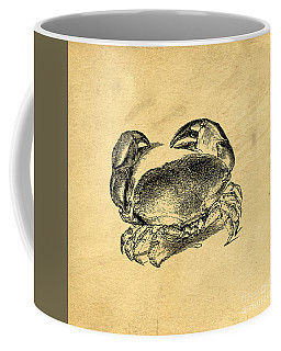 Coffee Mug featuring the drawing Crab Vintage by Edward Fielding