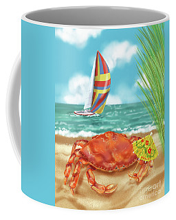 Crab With Cocktail Umbrella Coffee Mug