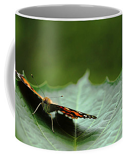 Coffee Mug featuring the photograph Cradled Painted Lady by Debbie Oppermann