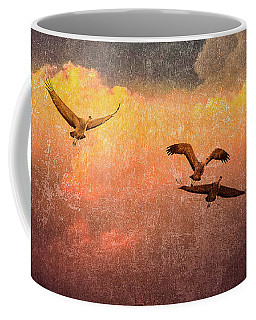 Cranes Lifting Into The Sky Coffee Mug