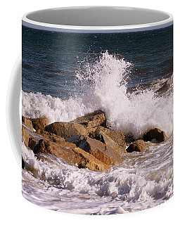 Coffee Mug featuring the photograph Crashing Surf On Plum Island by Eunice Miller