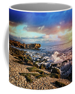 Coffee Mug featuring the photograph Crashing Waves At Low Tide by Debra and Dave Vanderlaan