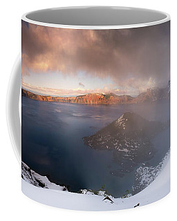 Coffee Mug featuring the photograph Crater Lake Partialy Foggy by William Lee