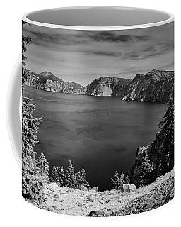 Crater Lake View In Bw Coffee Mug