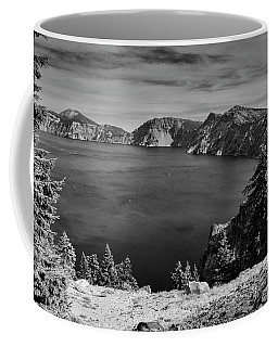 Crater Lake View In Bw Coffee Mug