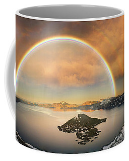 Coffee Mug featuring the photograph Crater Lake With Double Rainbow And Lightning Bolt by William Lee