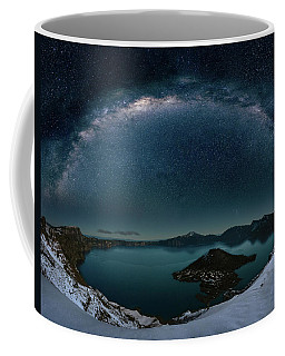 Coffee Mug featuring the digital art Crater Lake With Milkyway by William Lee